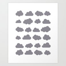Grey clouds winter time art Art Print