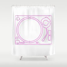 Neon Turntable 2 - 3D Art Shower Curtain