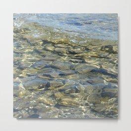 River Rocks - Serene Cool Flowing Water over Beach Stones Metal Print