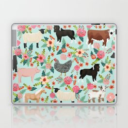 Farm animal sanctuary pig chicken cows horses sheep floral pattern gifts Laptop & iPad Skin