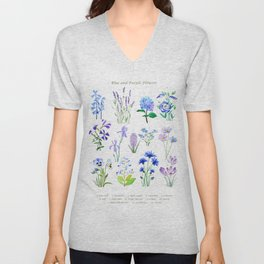 blue and purple flower collection watercolor Unisex V-Neck