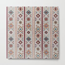 Caucasian Rugs(Stripe) - White Metal Print