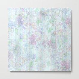 Vintage pastel pink lavender teal floral stripes Metal Print