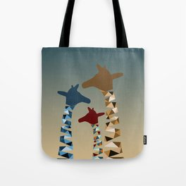 Abstract Colored Giraffe Family Tote Bag
