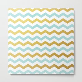 Tiffany Blue and Gold Chevron Pattern Metal Print