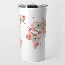 Floral Watercolor World Map - Pink, Coral, Aqua Flowers Travel Mug