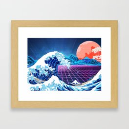 Synthwave Space: The Great Wave off Kanagawa #3 Framed Art Print