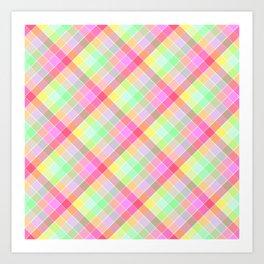 Pastel Rainbow Tablecloth Diagonal Check Art Print