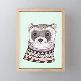 Hipster Ferret Framed Mini Art Print