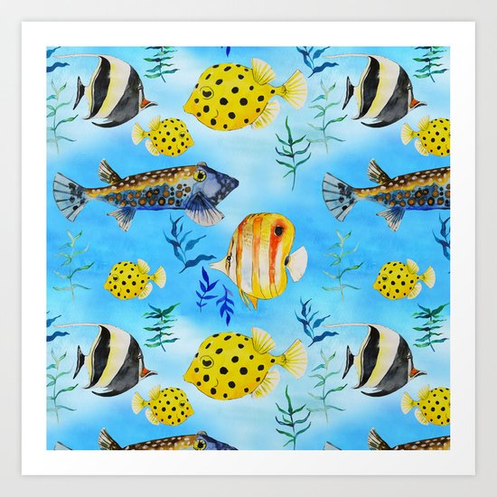 The deep sea-fishes in the sea- watercolor I Art Print