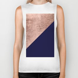 Minimalist rose gold navy blue color block geometric Biker Tank