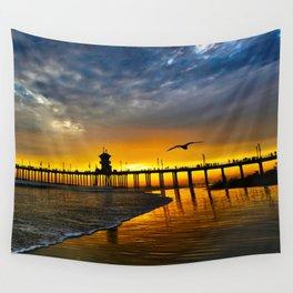 Seagull Sunset ~ Huntington Beach Pier   Wall Tapestry