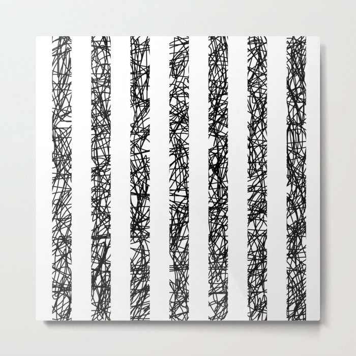 Scribble Bars - Abstract, stripy, stripey, black ink scribbles pattern, black and white Metal Print