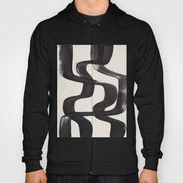 Mid Century Modern Minimalist Abstract Art Brush Strokes Black & White Ink Art Ripple Lines Hoody