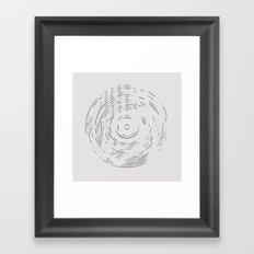 Record Black and White Framed Art Print