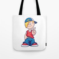 hip hop Tote Bags featuring Hip Hop Cartoon Boy by pixaroma