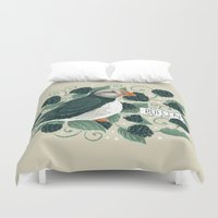 puffin Duvet Covers featuring Blackberry Puffin by Kelsey King Illustration