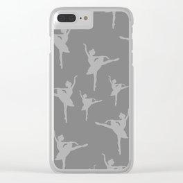 Grey Ballerinas Clear iPhone Case