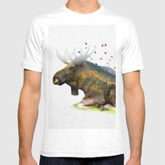Wild I Shall Stay | Moose White MEDIUM Mens Fitted Tee
