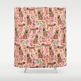 Sharpei dog breed florals dog pattern for dog lover by pet friendly sharpeis Shower Curtain