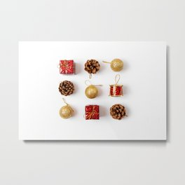 Flat lay of Christmas decorations. Minimal style on white background Metal Print
