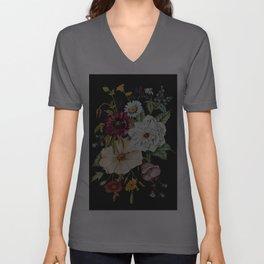 Colorful Wildflower Bouquet on Charcoal Black Unisex V-Ausschnitt