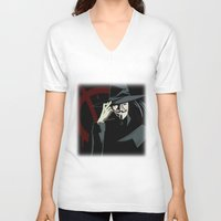 vendetta V-neck T-shirts featuring V for Vendetta (e1) by Ezgi Kaya