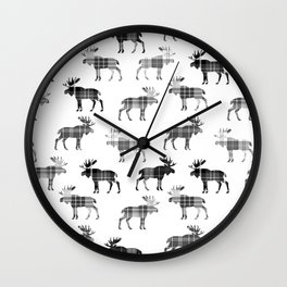 Moose Trot // Black & White Plaid Wall Clock