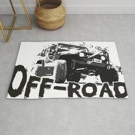A distressed rock crawling off-road design Rug