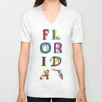 florida V-neck T-shirts featuring Florida by Fimbis