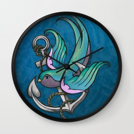 Vintage Tattoo Style Swallow Wall Clock