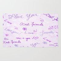 best friends Area & Throw Rugs featuring Best Friends by Fine2art