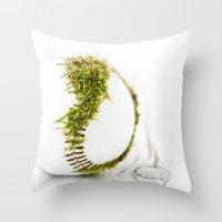 dragon ball Throw Pillows featuring Dragon Moss ball baseball by Surface Maximus