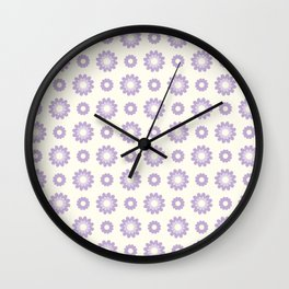 Little violet blossoms on a light yellow background pattern Wall Clock