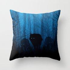 Wolf Pass: Cerulean Mist Throw Pillow