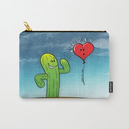 Spiky Cactus Flirting with a Heart Balloon Carry-All Pouch