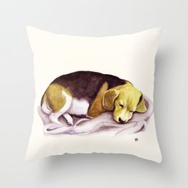 Beagle Watercolor Painting Throw Pillow