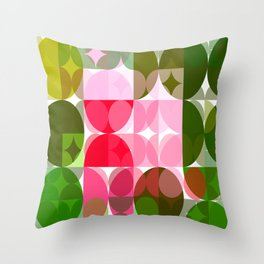 Pink Roses in Anzures 4 Abstract Circles 3 Throw Pillow