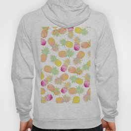 Tropical neon pink teal watercolor faux gold glitter pineapple Hoody