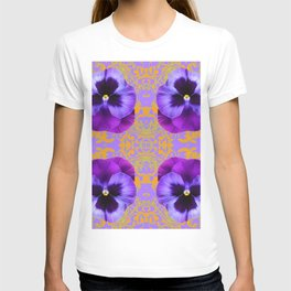 FOUR  PURPLE PANSIES ON LILAC  BROCADE GARDEN T-shirt