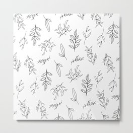 Falling Foliage - in black and white Metal Print