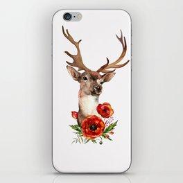 Deer with flowers 2 iPhone Skin