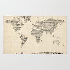 Old Sheet Music World Map Rug