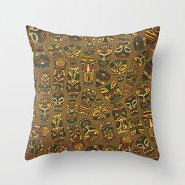 Tiki Masks Throw Pillow