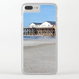 House on stilts at the beach of St. Peter Ording Clear iPhone Case
