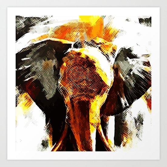 INDI ELEPHANT Art Print