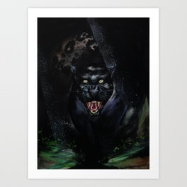 Black Jaguar Art Print