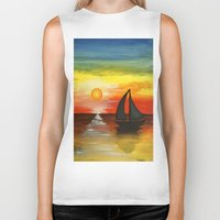 tequila Biker Tanks featuring Tequila Sunset by William Gushue