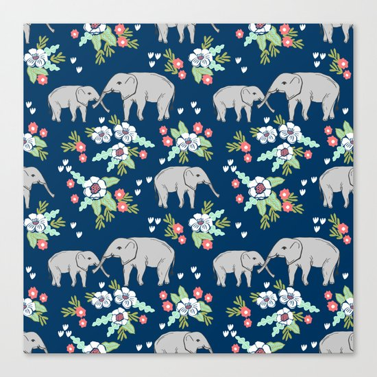 Elephants pattern navy blue with florals cute nursery baby animals lucky gifts Canvas Print