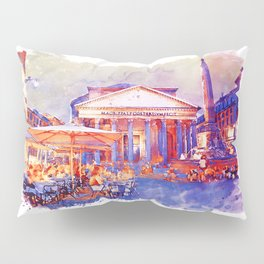 The Pantheon Rome Watercolor Streetscape Pillow Sham